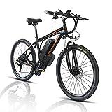 26/29' Bicicleta Eléctrica E-Bike, Bicis de Montaña Electricas para Adulto de 48V con Batería Extraíble de 13Ah/18Ah, Bicicleta de Ciudad para Hombres y Mujeres (Negro, 26zoll 18A)