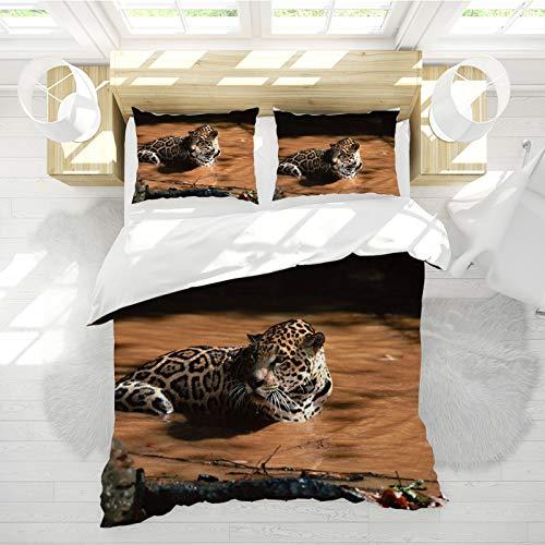 SHJIA Funda Nórdica Doble Azul, Funda Nórdica Animal con Estampado De Leopardo 3D, Funda Nórdica Animal De Poliéster Cama Doble 200 * 200cm
