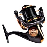 Dioche Carrete de Pesca de Fundición, 12 + 1BB Alta Velocidad Casting Metálico Spinning Sea Fishing Reel Wheel Tackle Accesorios(9000)