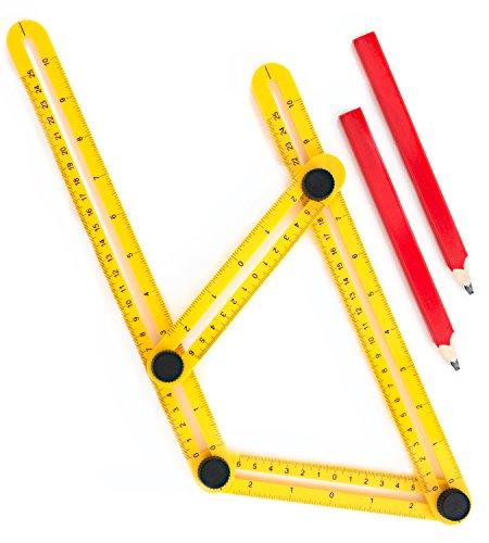 Winkel-Finder für Unternehmer, Handwerker & Heimwerker | Verstellbares Mess-Lineal | Einfaches Winkellineal in Maxform und Angle-izer Vorlagen-Werkzeug | Werkzeug, um den richtigen Winkel zu Messen zu