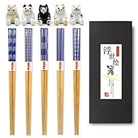 5 Pairs Japanese Style Bamboo Chopsticks and Rest, Cartoon Cute Fat Cat Chopstick Rest, Classic Tasteful Simplicity Gift…