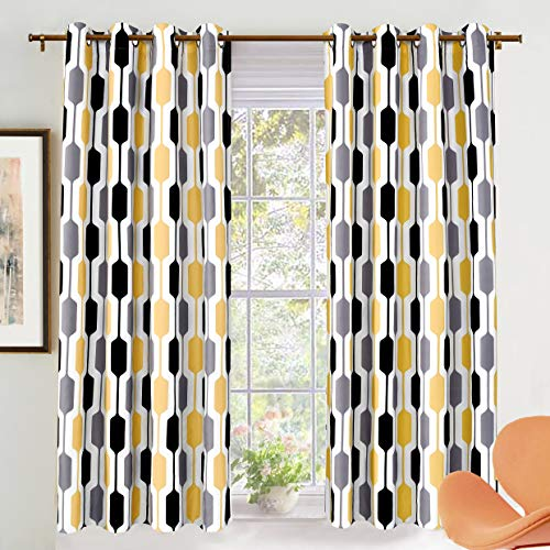 DriftAway Riley Geo Room Darkening Blackout Thermal Insulated Grommet Lined Window Curtains Mid Century Geometric Pattern 2 Layers 2 Panels Each 52 Inch by 63 Inch Gold Black Gray