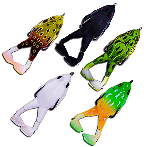 Soft Frog Bait, Double Propellers Legs, 3D Eyes, Lifelike Silicone Skin Pattern, Topwater, Bigger Splash More Attractive, Fishing Lure Set for Bass Snakehead Pike, 3.5in/0.46oz, 5 pcs (A(3.54in 5pc))