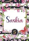 Saskia: Carnet de notes A5   Prénom personnalisé Saskia   Monogramme : S   Cadeau d'anniversaire pour fille, femme, maman, copine, sœur ...   120 pages lignée, Petit Format A5 (14.8 x 21 cm)