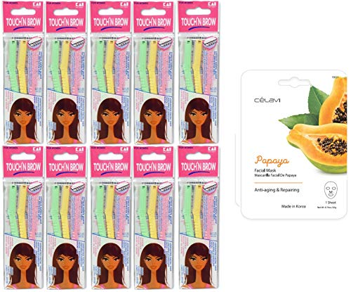 KAI TOUCH N BROW Eyebrow Razor - Pack of 10 (30 Razors) - with One Free Celavi - Kayla's Limited Edition Facial Mask