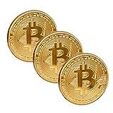 Scarlet Gifts   Münze »Bitcoin Extra Heavy« aus schwerem Messing; massiv mit Edelmetallauflage (z.B. 24-Karat Gold ); Sammlerstück; Crypto Currency zum Anfassen (Set: 3X Gold) -