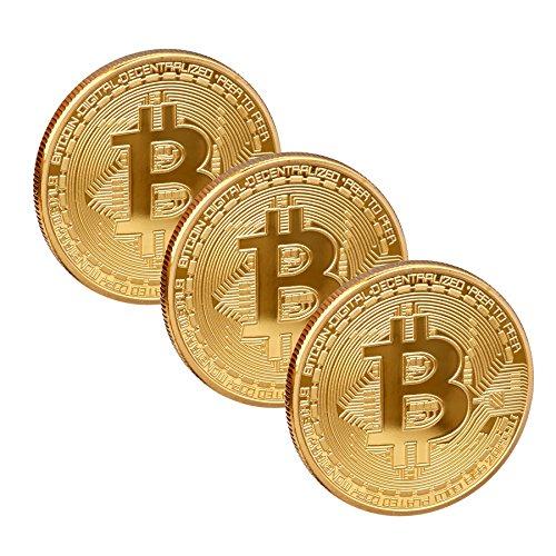 Scarlet Gifts | Münze »Bitcoin«; massiver Stahl mit Edelmetallauflage (z.B. 24-Karat Gold, Silber, Kupfer); Sammlerstück; Crypto Currency zum Anfassen (Set: 3X Gold)