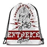 KKs-Shop Bolso clásico con cordón para Hombre Mujer Mochila de Gimnasio Bolsas de Hombro Bolsa de Almacenamiento Deportivo BMX Rider Urban Team Freestyle Bike Trial Kawaii