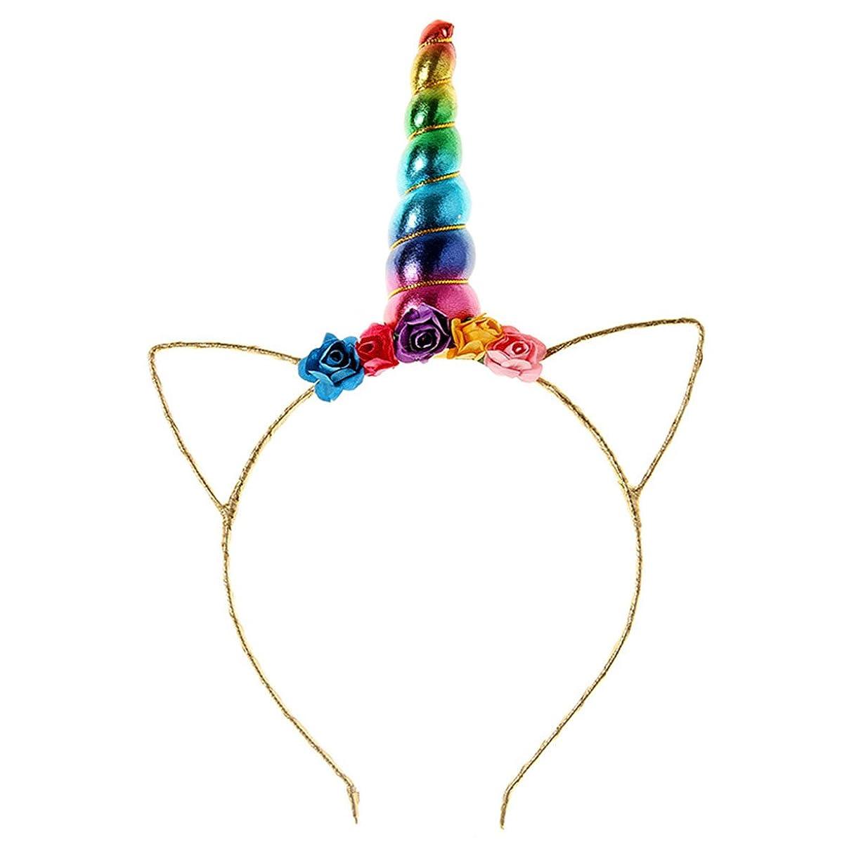 汚す先駆者キャンバス誕生日ハロウィンコスプレパーティーのためのキッズのレインボーユニコーンホーンヘッドバンドヘッドウェアアクセサリー