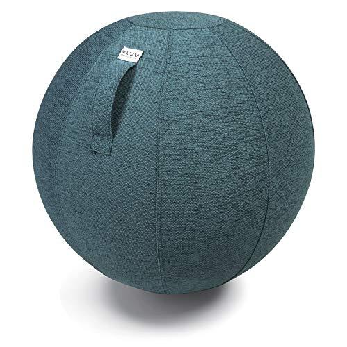 VLUV STOV Stoff-Sitzball, ergonomisches Sitzmöbel für Büro und Zuhause, Farbe: Petrol (blau-grün), Ø 60cm - 65cm, hochwertiger Möbelbezugsstoff, robust und formstabil, mit Tragegriff