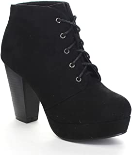Camille-86 Women's Comfort Stacked Chunky Heel Lace Up Ankle Booties