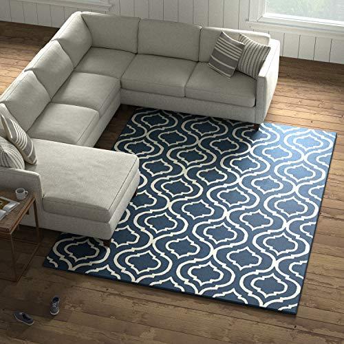 Amazon Brand – Stone & Beam Contemporary Hourglass Wool Area Rug, 7'6' x 9'6', Navy