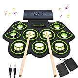 Electronic Drum Set - MIDI Drum Practice Pads,Bluetooth Portable Roll Up Electric Drum