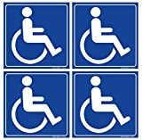 (Set of 4) Handicap/Disabled Wheelchair Accessible Sign | 6' x 6' | 4 Mil Vinyl | Laminated for Extra Durability - Self Adhesive Decal - UV Protected & Weatherproof - Heavy Duty