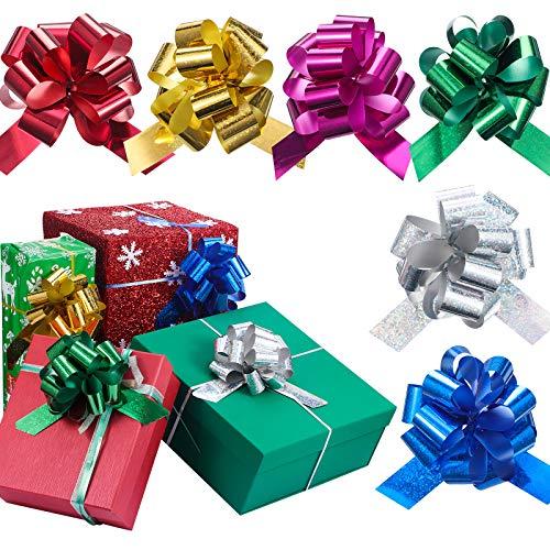 36 Stück 4,5 Zoll Weihnachten Geschenk Schleife Ziehen Bögen Geschenk Verpackung Ziehen Bögen mit Band für Weihnachten Dekoration, Geschenkverpackung, Hochzeit Party Dekoration