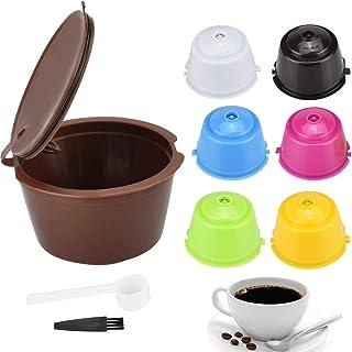 SNAGAROG 7 PCS Filtre de Café Réutilisable Capsule Rechargeable à Café pour Cafetière Nescafe Dolce Gusto avec 1 Cuillère ...