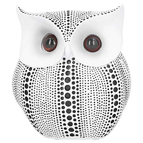 Owl Statue Decor, Small Crafted Figurines for Home Decor Accents Living Room Bedroom Office Decoration Book Shelf TV Stand Animal Sculptures Collection Gifts for Birds Lovers(White)