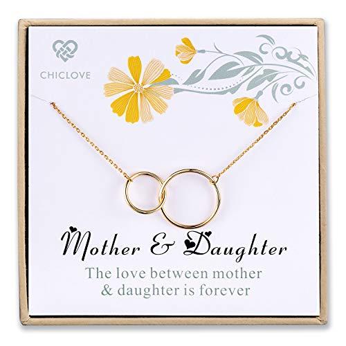 CHICLOVE Madre Hija Collares, Colgante de la Madre Oro, Colgante Infinito Plata, Collar Madre e Hija, día de la Madre Regalo