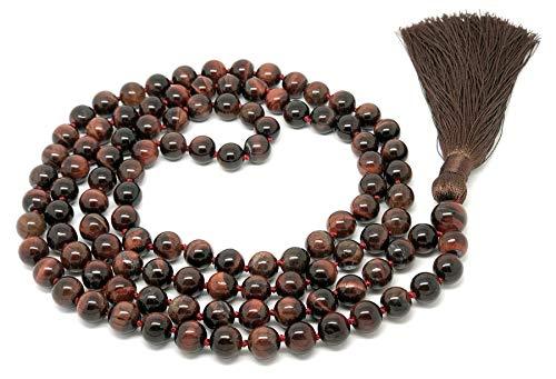 Givereldi bracciale collana di perle di mala con occhio di tigre rosso 108 perle 6mm - con nodi più 1 grande perla di guru - birthstone, bilancio energetico, preghiera, meditazione