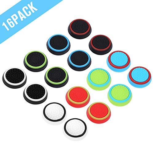 Obeka Compatible with 8 Pairs Thumb Grips Silicone Analog Stick Covers Thumbstick Controller Replacement Joystick Cap PS4 PS3 PS2 Xbox One Xbox 360 Wii U