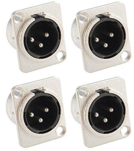 Adam Hall Connectors 7838-4er Set XLR-Einbaubuchse male/männlich 3-pol D-Typ silber Einbaustecker