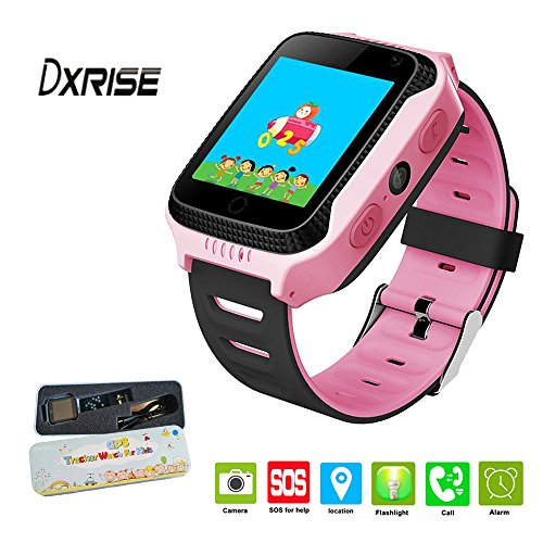 Dxrise Jeux Enfants Montre Intelligente Montres Enfants Tracker GPS Montre Téléphone GPS Smartwatch avec Fonction Lampe de Poche pour Bébé Filles Garçons Jouets Cadeau