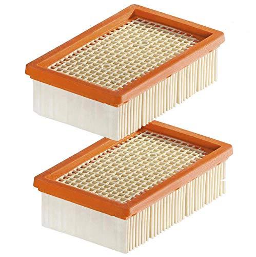 Poweka Filtro Plegado Plano para kärcher WD4 WD5 WD6 MV4 MV5 MV6 Aspiradora en Húmedo y Seco (2 Piezas)