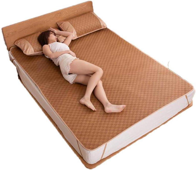 Cooling Summer Sleeping Mat, Rattan Mat, Foldable Tatami Mattress Durable Skin-Friendly Air Conditioning Mat Three-Piece-a Twinch2