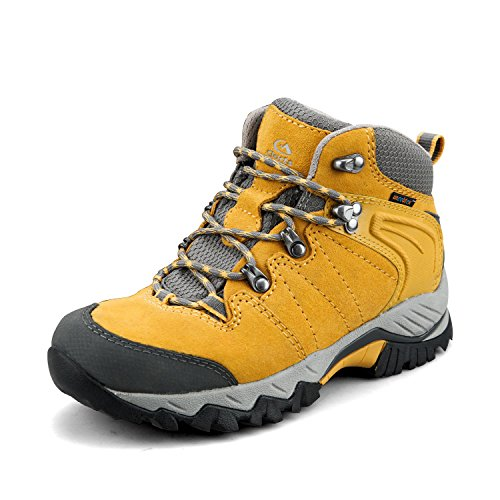 Clorts Women's Hiking Camping Boots Waterproof Breathable High-Traction Grip Backpacking Hiker Shoes HKM-822F US 9 Yellow