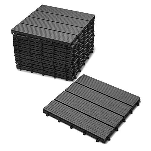 SAM Terrassen-Fliese WPC Kunststoff, 11er Spar Set für 1m², anthrazit-grau, Garten Klickfliese, Bodenbelag mit Drainage