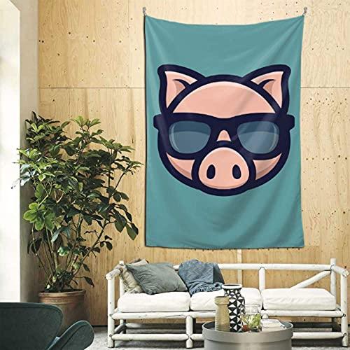 N\A Tapiz de la Pared de la Sala de Estar Cool Pig Gafas de Sol Icono Piggy Head Bar Decoración de la Pared Arte de la Pared para el apartamento Dormitorio Telón de Fondo Decoración del hogar