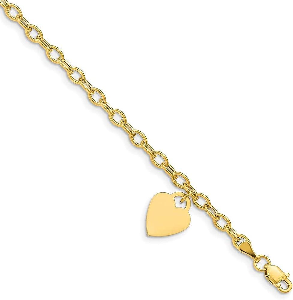 14k Dangle Heart Bracelet 7.5in 10.5mm style SF1822-7.5