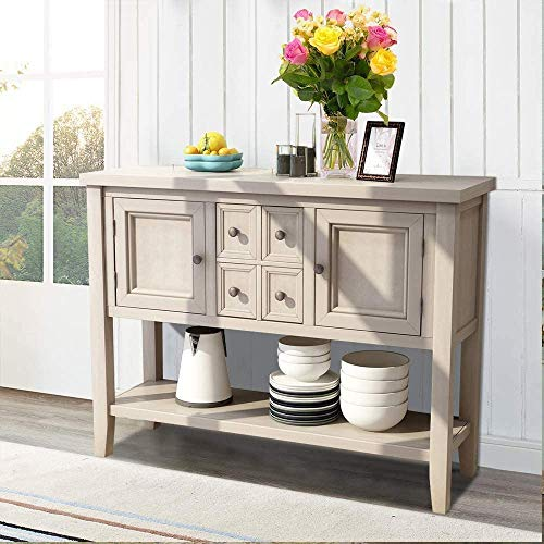 Romatlink Classic Design Antique Retro Buffet Dining Sideboard with 4 Storage Drawers, 2 Cabinets and Underframe,Indoor Dining Table,Rustic/Urban Style for Hallway,Kitchen,Home
