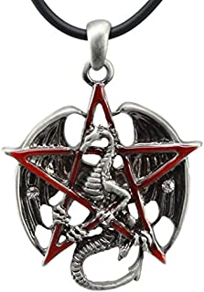Ebros Gothic Red Pentagram Star Dragon Pendant Pewter Necklace Fantasy Mythical Legendary Celestial Dragon Jewelry Accessory