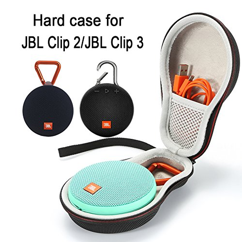 L3 Tech Hard Case Travel Carrying Storage Bag for JBL Clip 2/JBL Clip 3 Wireless Bluetooth Portable Speaker. Fits USB Cable - Black