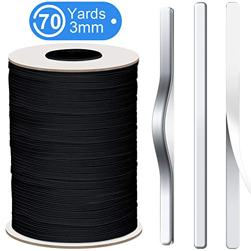 Elastic Band Braided Elastic Cord Stretch Knit Rope Elastic Spool and 150 Pieces Nose Bridge Aluminum Wire Strip for Sewing Craft DIY Supplies (1/8 Inch x 70 Yard in Cord, 3.31 Inch in Wire)