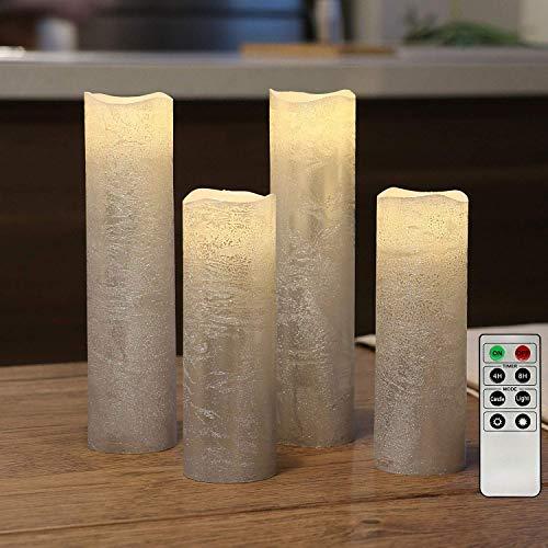 4 flammenlose LED Wachskerzen Sliber Rustik-Design mit Fernbedienung und Timerfunktion, inkl. Batterien