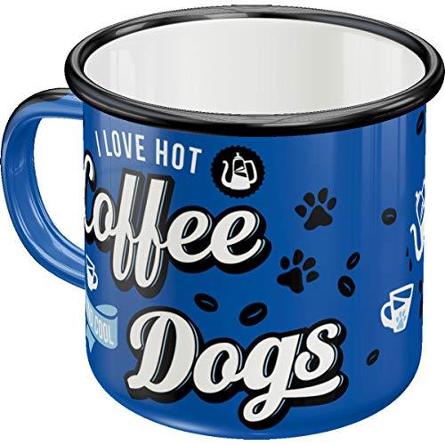 Nostalgic-Art 43212 PfotenSchild – Hot Coffee & Cool Dogs – Geschenk-Idee für Hunde-Liebhaber Retro Emaille-Tasse, Camping-Becher, 360 milliliters, Vintage Design