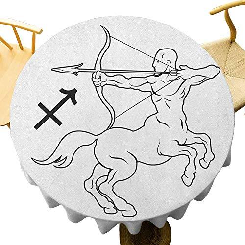 VICWOWONE - Mantel redondo para cocina de 170 cm, diseño de centauro monocromo con arco y flecha astrología, imagen temática de secado rápido blanco y negro