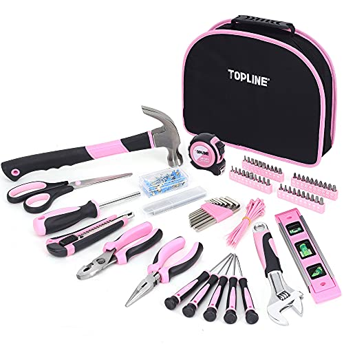 TOPLINE 208-Piece Ladies Pink Tool Set with Easy Carrying Round Pouch, Home Tool Kit for Women with Durable Materials and Soft Handles, Perfect for Gifts, DIY Projects and Home Improvement