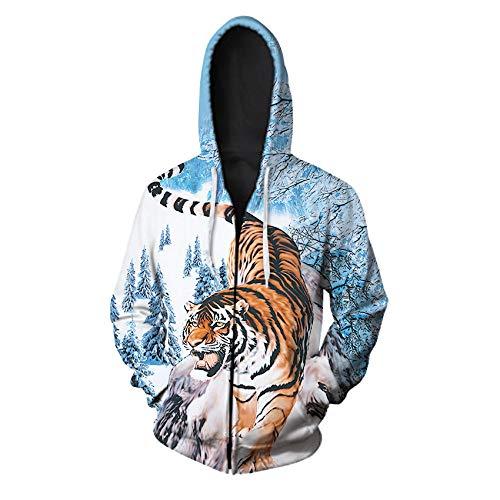 LGLZKA 3D Sweater Tiger Zipper Hoodies Unisex Zip Up Sweatshirts Männer Hoodie Hooded Casual Tierpullover Herbst Winter Hoody Tops,5XL