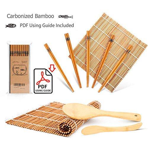Set mit 9 Bambus-Sushi-Utensilien, mit 2 Matten, 5 Paar Essstäbchen, Spatel und Streuer, Anfängerleitfaden (PDF) (spanische Sprache nicht garantiert)