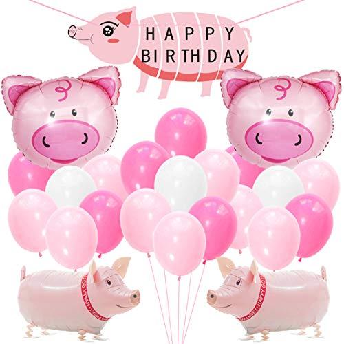 Kreatwow Schwein-Geburtstags-Partydekorationen Liefert Walking Pig Balloons Happy Birthday Banner für Mädchen Geburtstag Baby Shower