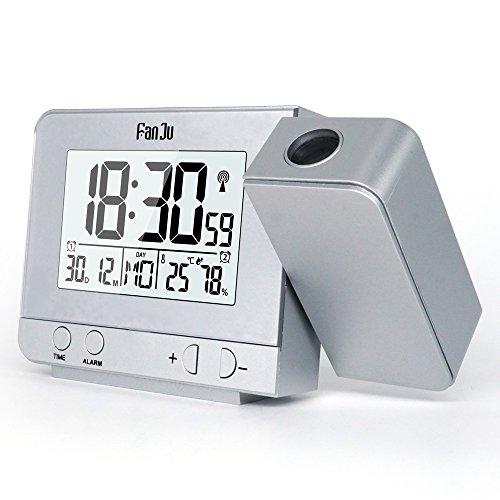 FanJu FJ3531S Projektionswecker mit Temperatur und Zeit-Projektion/USB-Anschluss/Innentemperatur und Luftfeuchtigkeit/DCF automatische Zeitanpassung/Kalender
