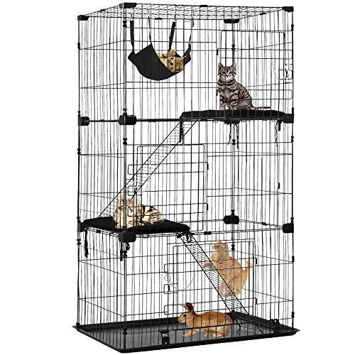 Large 3-Tier Cat Cage Pet Playpen Cat Crate Kennels 67' Height Kitten House Furniture Wire Metal Pet Enclosure w/3 Front Doors 2 Ladders 2 Platforms Bed Hammock Cat Condo for Ferret Rat Cat chinchilla