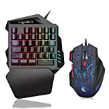 Ajcoflt J50 One-Handed Gaming Keyboard 35 Keys LED Backlight + Wired Gaming Mouse