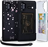 TORU CX PRO Compatible with Samsung Galaxy Note 10 Plus Case - Protective Dual Layer Wallet Floral with Hidden Card Holder + ID Card Slot Hard Cover, Strap, Mirror & USB Adapter - Sakura Flowers