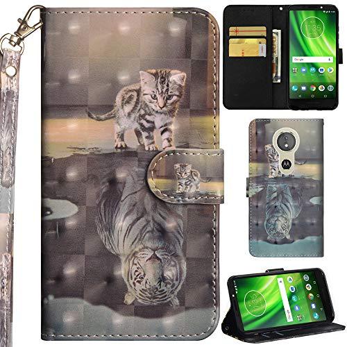 Ooboom Motorola Moto E5/G6 Play Hülle 3D Flip PU Leder Schutzhülle Handy Tasche Hülle Cover Ständer mit Trageschlaufe Magnetverschluss für Motorola Moto E5/G6 Play - Katze Tiger