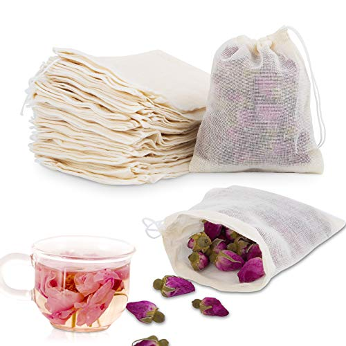 Chielor 50Pcs Cotton Muslin Bags-3.94 x 3.15 Inches Eco-friendly Drawstring Bags for Reusable Sachet, Crafts, Teas, Spices, Soaps, Jewellery, Crafts, Parties, Decor & Favour Gifts for Home Supplies