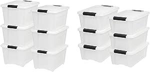 IRIS USA, Inc. TB-28 32 Quart Stack & Pull Box, Multi-Purpose Storage Bin, 6 Pack, Pearl with TB-42 12 Quart Stack & Pull Box, Multi-Purpose Storage Bin, 6 Pack, Pearl